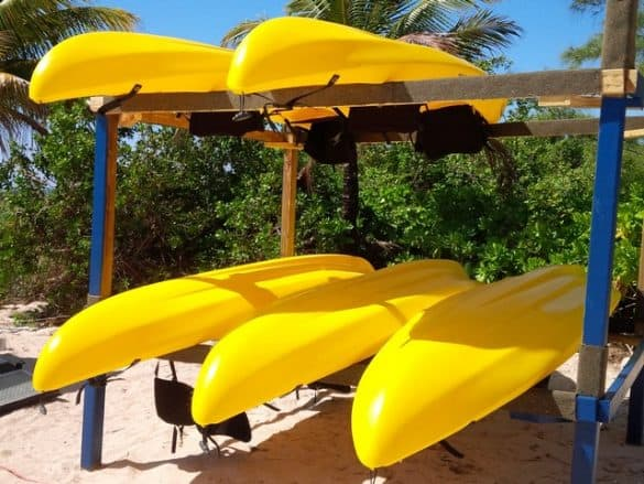 Kayaks are available for rental at he Bahamas Adventures Beach Club located in Freeport, Bahamas.