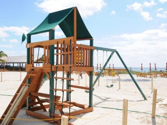 The kids play area is very large.
