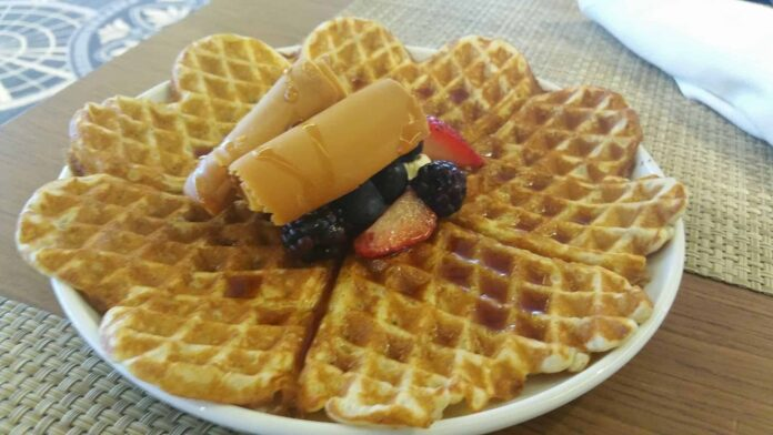Waffles with an amazing choice of toppings.