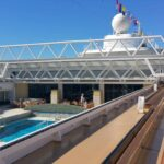 A look at the main pool with the retractable roof.