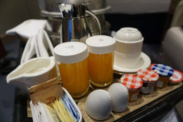 Our Breakfast, Served via Room Service. Including fresh squeezed orange juice and a carafe of coffee.