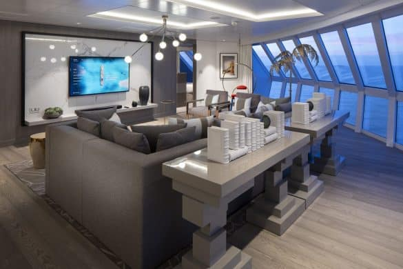 Iconic Suite Cat. IC - Living room - Room #12100 Forward Starboard Celebrity EDGE - Celebrity Cruises