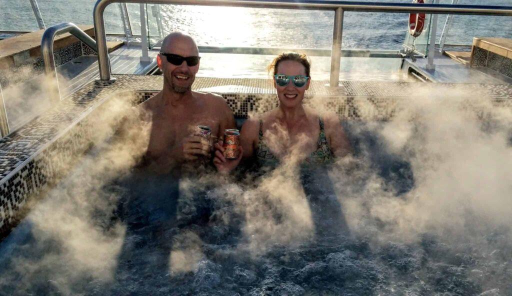 Hot tubbing at Aquavit Terrace on Viking Sky in the Arctic