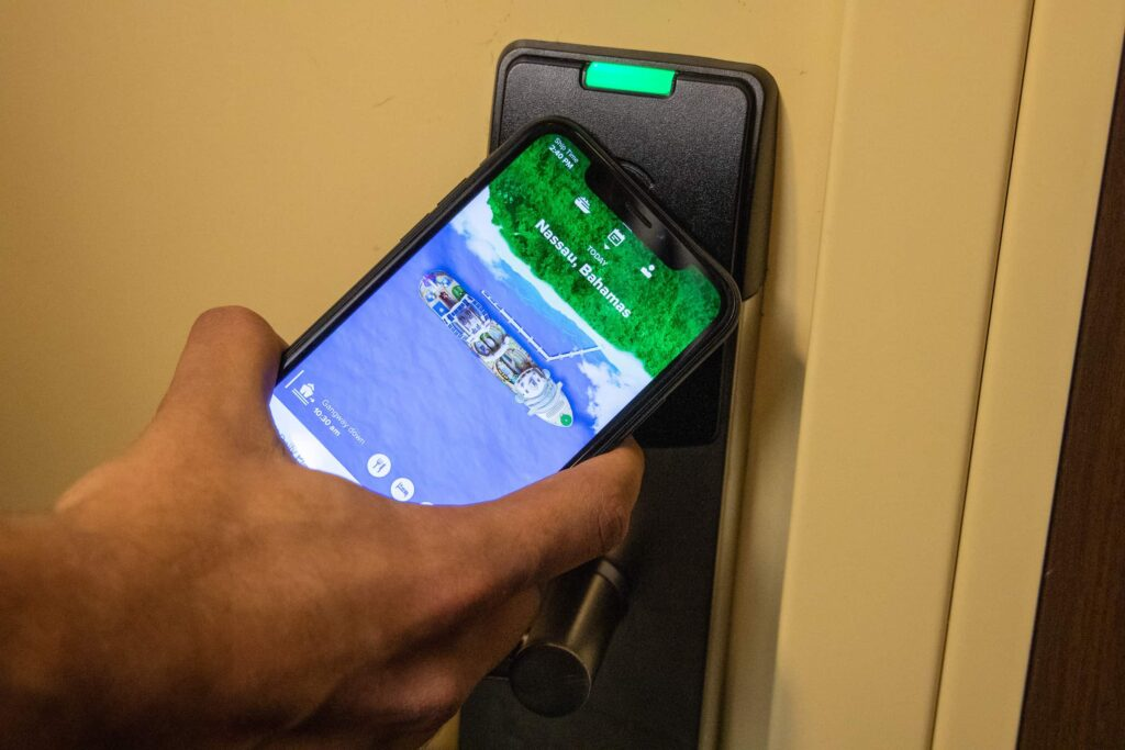 Digital stateroom key and mobile TV remote on Oasis of the Seas