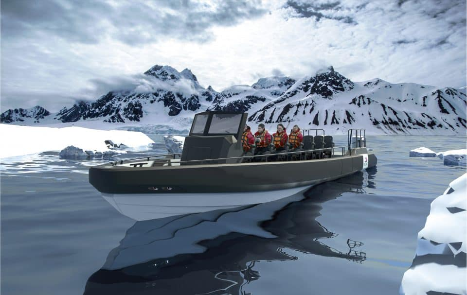 Rendering of a Viking Expeditions RIB - Rigid Inflatable Boat supplied by Boomeranger (Credit: Viking)