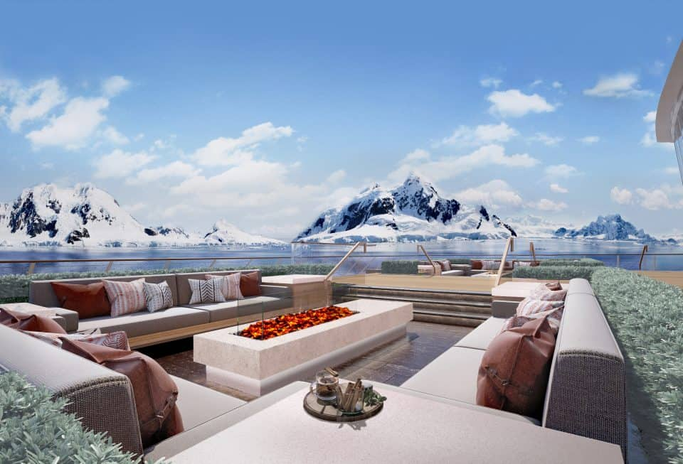 Rendering of the Deck 2 Aft area, Finse Terrace, on-board the Viking Expedition ship (Credit: Viking)
