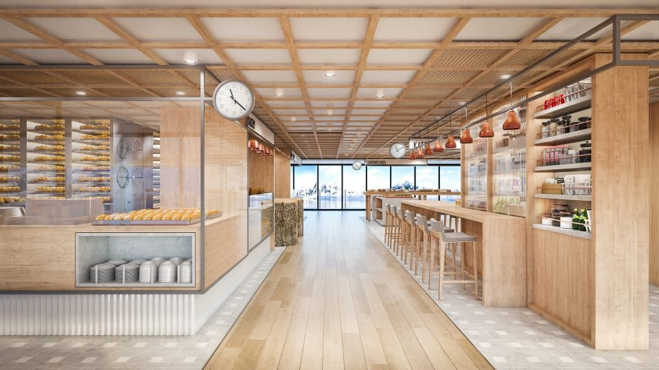 Rendering of The Market World Cafe area on-board the Viking Expedition ship (Credit: Viking)