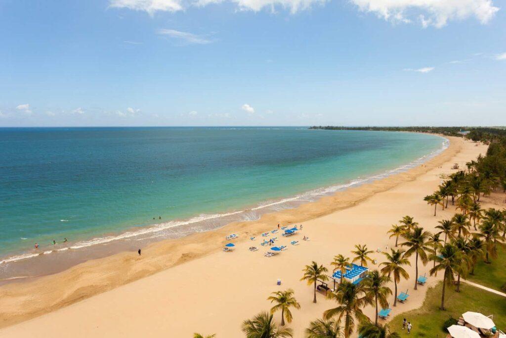 the beach front at the Courtyard Isla Verde Beach Resort