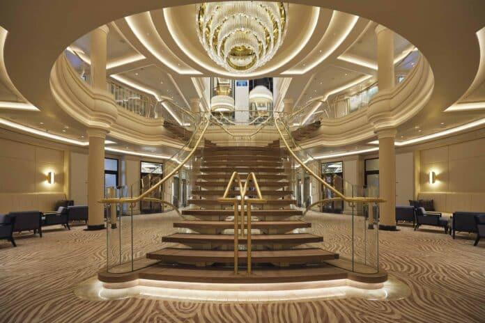 The sparkling atrium staircase on Regent Seven Seas Splendor