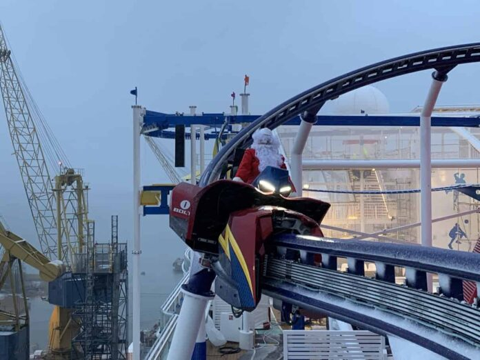 Santa Claus Takes Ride On First Cruise Ship Roller Coaster