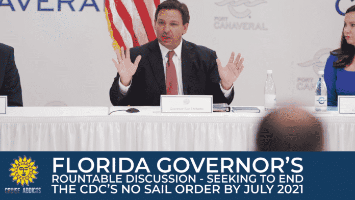 Florida Governor DeSantis Holds Roundtable Conference With Cruise Executives