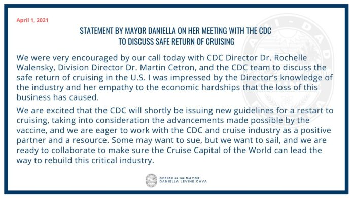 Miami Mayor Encouraged About Safe Return To Cruising After Meeting With CDC Director | 13