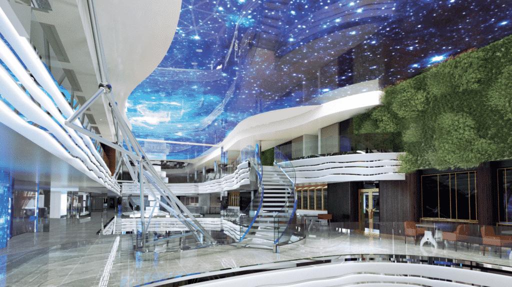LED-sky screen aboard MSC World Europa